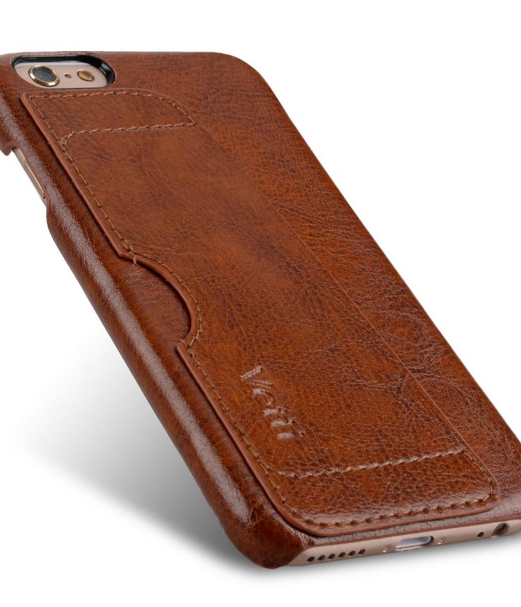 Genuine Leather Card Slot Snap Cover For Iphone 6s (4.7) - Vintage Brown