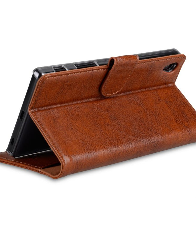 Sony Experia Z5 Genuine Leather Case - Folio Stand Book Type (Vintage Brown)