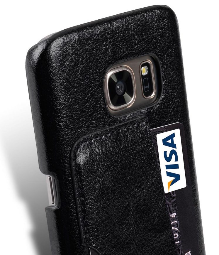 Genuine Leather Card Slot Snap Cover For Samsung Galaxy S7 - Vintage Black