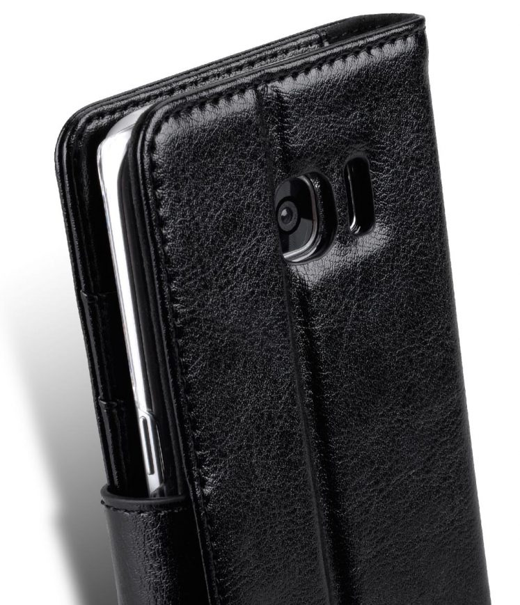 "Genuine Leather Folio Stand Book Type Case For Samsung Galaxy S7 Edge(5.7"") -(Vintage Black)"