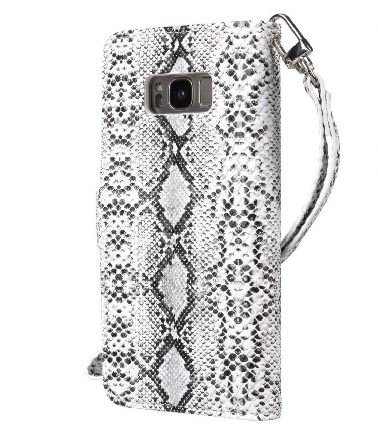 Vetti Craft Snake Skin PU Leather Case for Samsung Galaxy S8 - Senton Wallet Book Type ( White / Black SK )