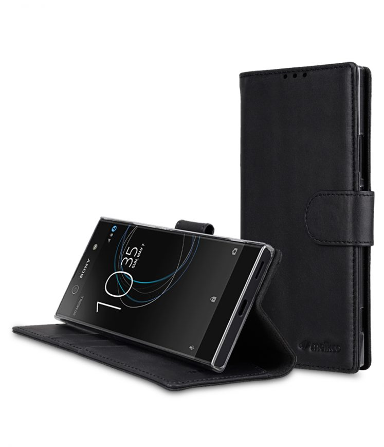 Melkco Premium Leather Flip Folio Case for Sony Xperia XA1 - Wallet Book Clear Type Stand