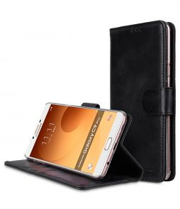 Melkco Premium Leather Flip Folio Case for Samsung Galaxy C9 Pro - Wallet Book Clear Type Stand