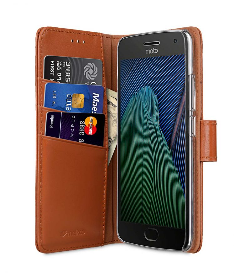 Premium Leather Case for Motorola Moto G5 Plus - Wallet Book Clear Type Stand (Brown CH)