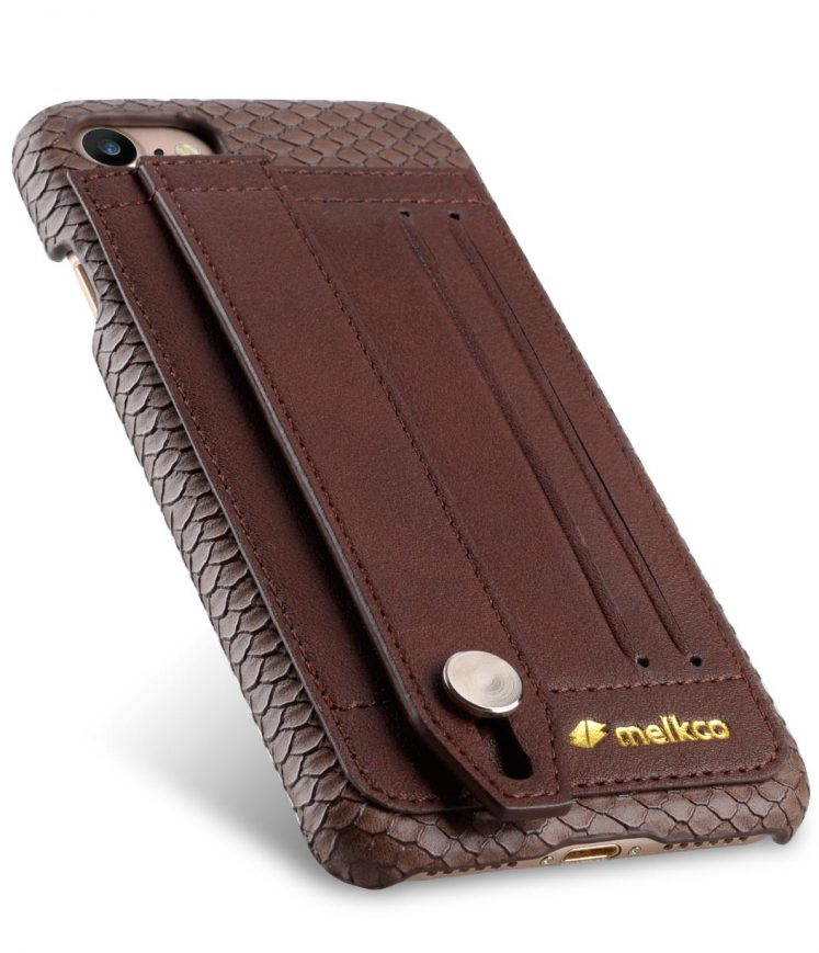 "Melkco Fashion Python Skin Series Leather Case with Card Detect Function for Apple iPhone 7 / 8 (4.7"") - (Chocolate)"