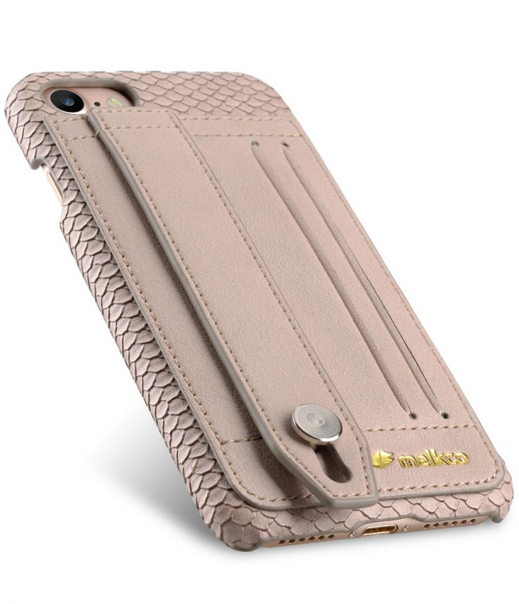 "Melkco Fashion Python Skin Series Leather Case with Card Detect Function for Apple iPhone 7 / 8 (4.7"") - (Light Grey)"