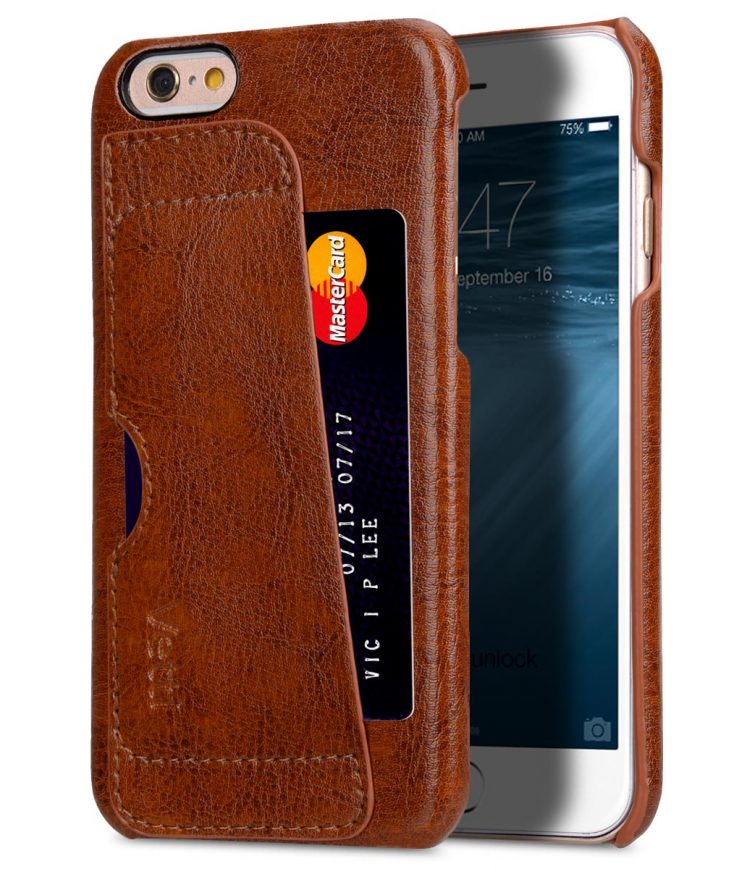 """Genuine Leather Card Slot Snap Back Cover Case For iPhone 6s Plus (5.5"""")"""