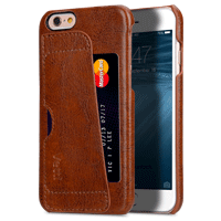 Genuine Leather Card Slot Snap Cover For Iphone 6s Plus (5.5) - Vintage Brown