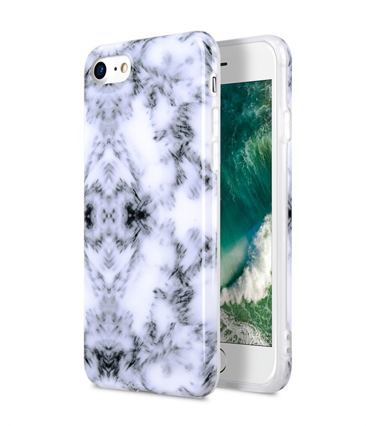 "Melkco Back Snap Series Marble Jacket Case for Apple iPhone 7 / 8 (4.7"") - ( Marble Ash )"