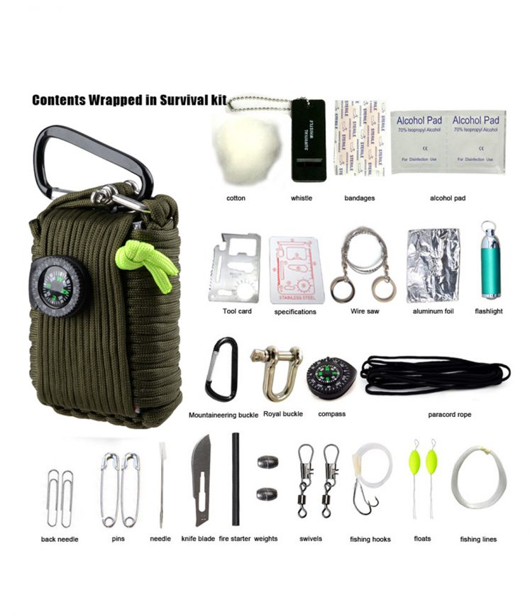 29 in 1 Multi-Functional Emergency Survival Kit - Army Green