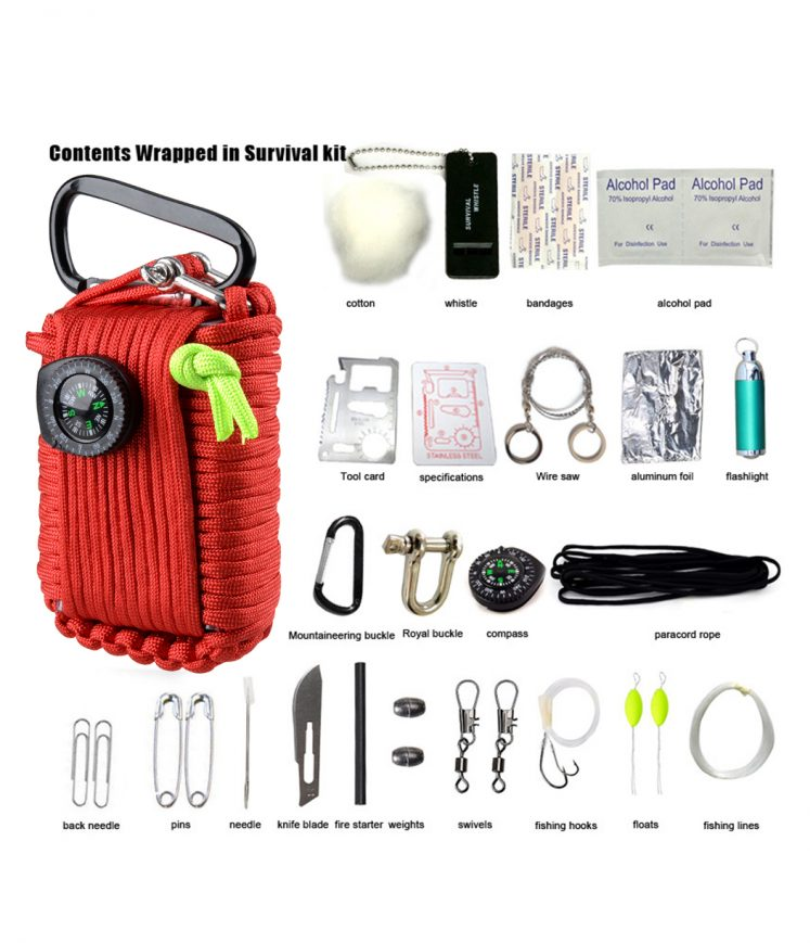 29 in 1 Multi-Functional Emergency Survival Kit - Red