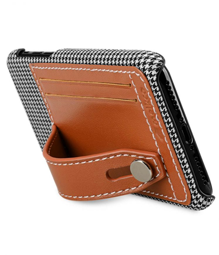 Holmes Series Tobacco Genuine Leather Dual Card slot with stand Case for Apple iPhone X - (Brown)