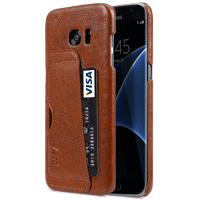 "Genuine Leather Card Slot Snap Cover For Samsung Galaxy S7 Edge(5.7"") - Vintage Brown"
