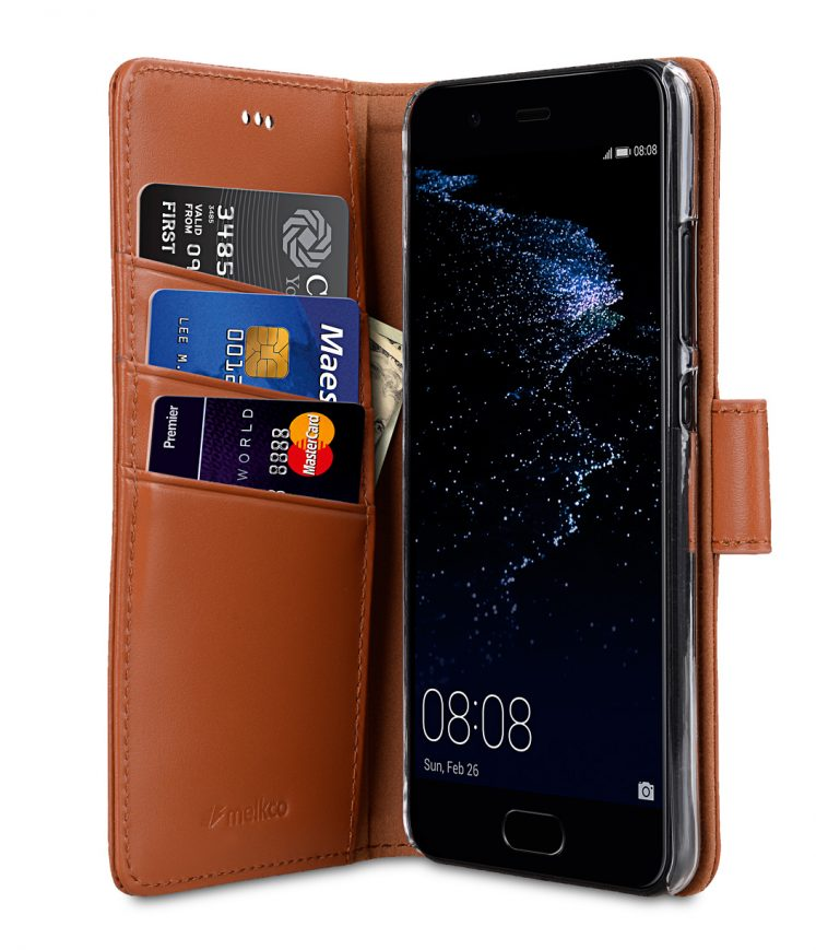 Melkco Premium Leather Case for Huawei P10 - Wallet Book Clear Type Stand ( Brown )