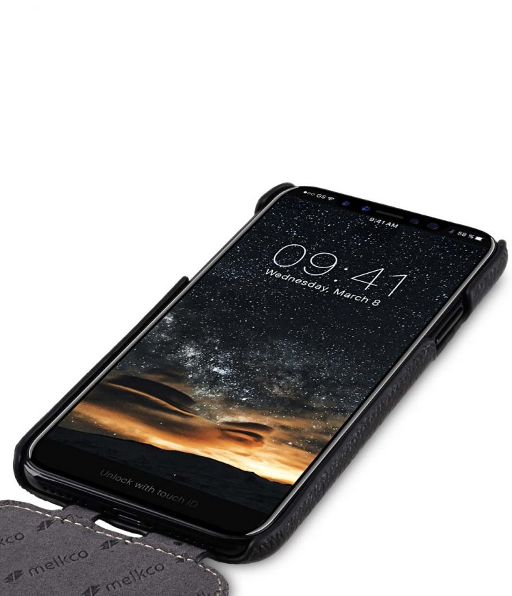 Melkco Jacka Series Lai Chee Pattern Premium Leather Jacka Type Case for Apple iPhone X - ( Black LC )