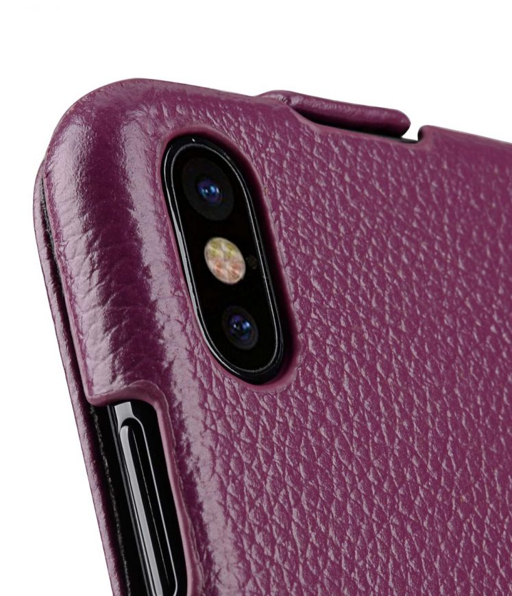 Melkco Jacka Series Lai Chee Pattern Premium Leather Jacka Type Case for Apple iPhone X - ( Purple LC )
