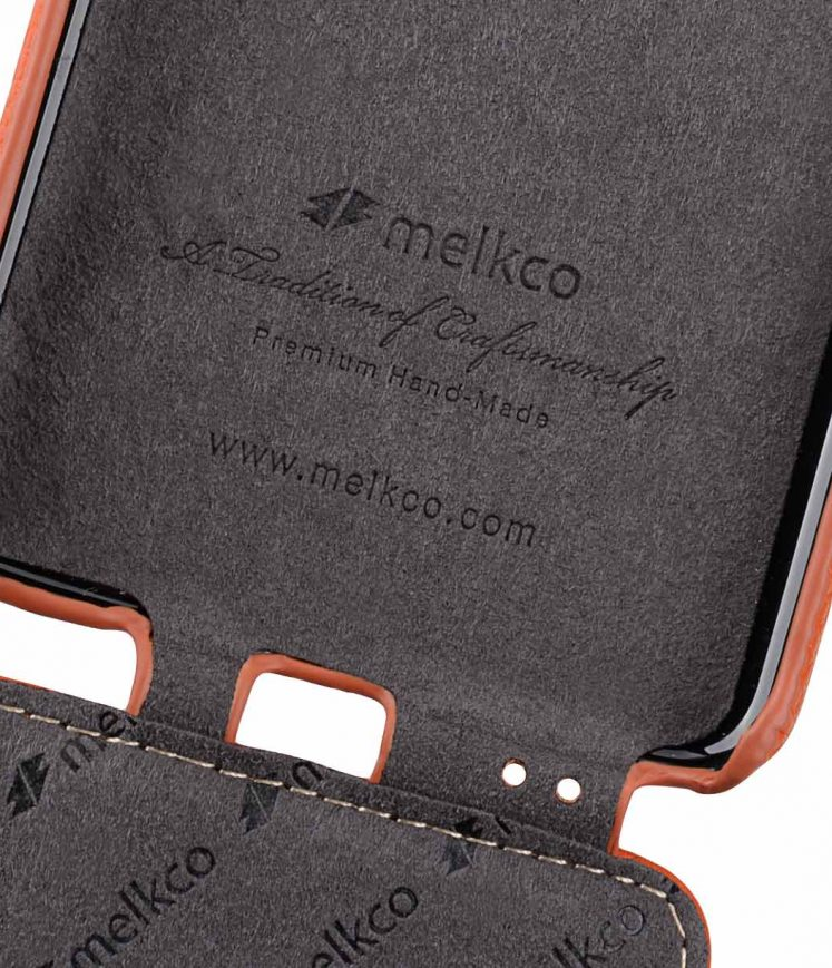 Melkco Premium Cow Leather Flip Down Vertical with Buckle Closure and Handmade for Samsung Galaxy S9+ Case - Jacka Type ( Orange LC )