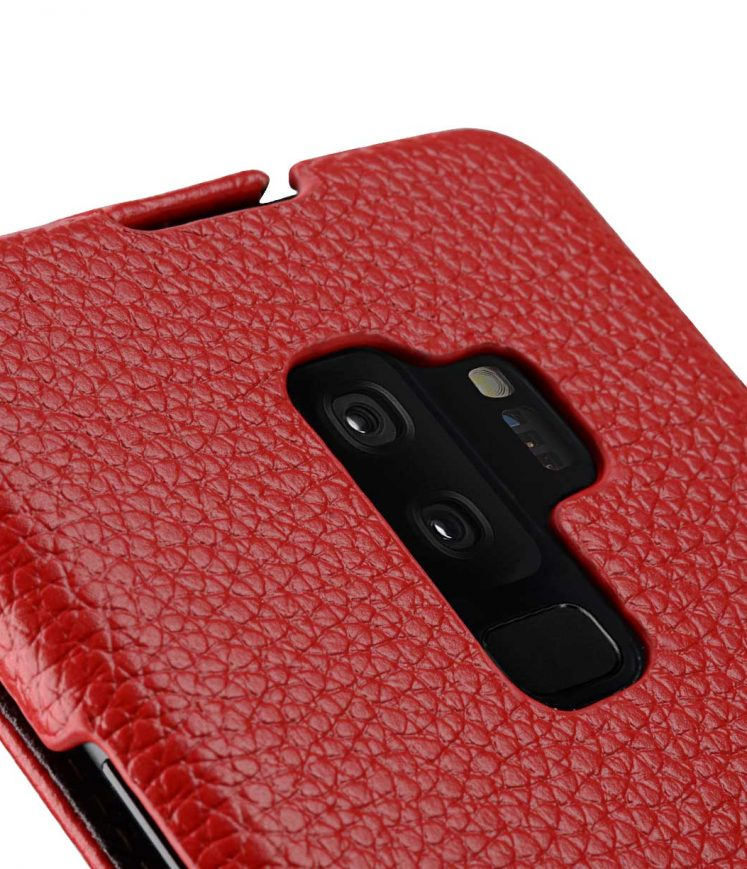 Melkco Premium Cow Leather Flip Down Vertical with Buckle Closure and Handmade for Samsung Galaxy S9+ Case - Jacka Type ( Red LC )