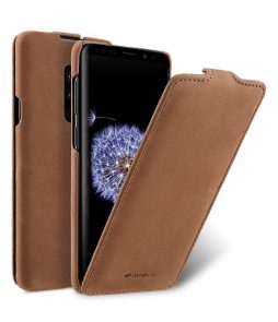Melkco Premium Cow Leather Flip Down Vertical with Buckle Closure and Handmade for Samsung Galaxy S9+ Case - Jacka Type