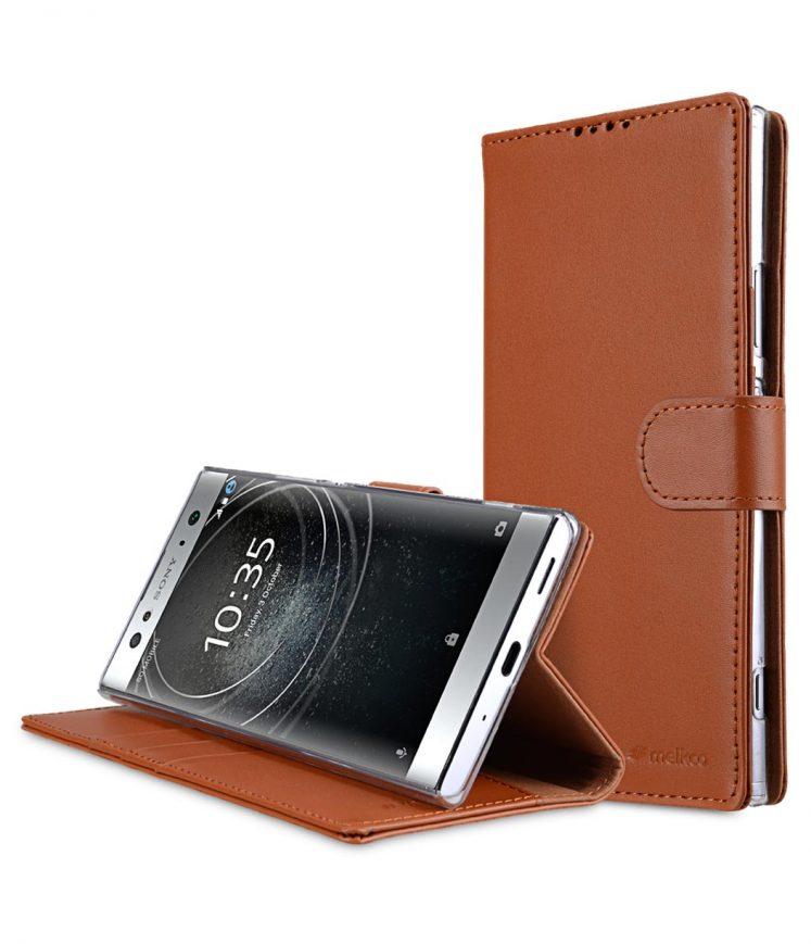 Melkco Premium Cow Leather Flip Folio Wallet Cover with Kickstand, Magnetic Closure, Card Slot, Side Pocket and Handmade for Sony Xperia XA2 Ultra