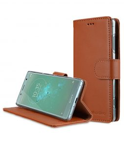 Melkco Premium Cow Leather Flip Folio Wallet Cover with Kickstand, Magnetic Closure, Card Slot, Side Pocket and Handmade for Sony Xperia XZ2 Compact - Wallet Book Clear Type Stand