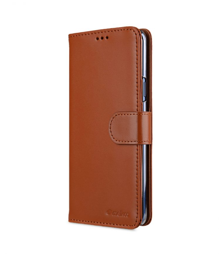 Melkco Premium Cow Leather Flip Folio Wallet Cover with Kickstand, Magnetic Closure, Card Slot, Side Pocket and Handmade for Samsung Galaxy S9+ Case - ( Brown )