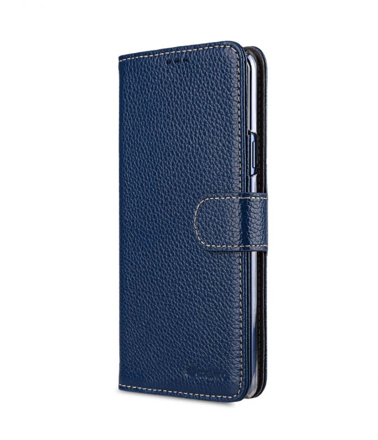Melkco Premium Cow Leather Flip Folio Wallet Cover with Kickstand, Magnetic Closure, Card Slot, Side Pocket and Handmade for Samsung Galaxy S9+ Case - ( Dark Blue LC )