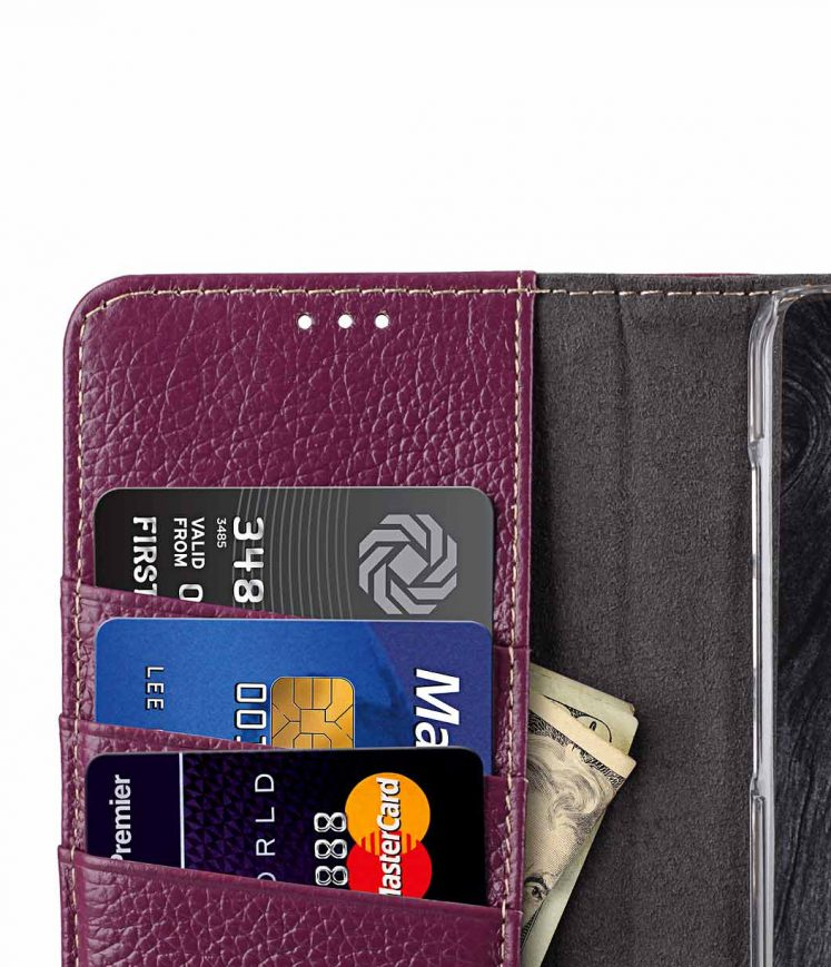 Melkco Premium Cow Leather Flip Folio Wallet Cover with Kickstand, Magnetic Closure, Card Slot, Side Pocket and Handmade for Samsung Galaxy S9+ Case - ( Purple LC )