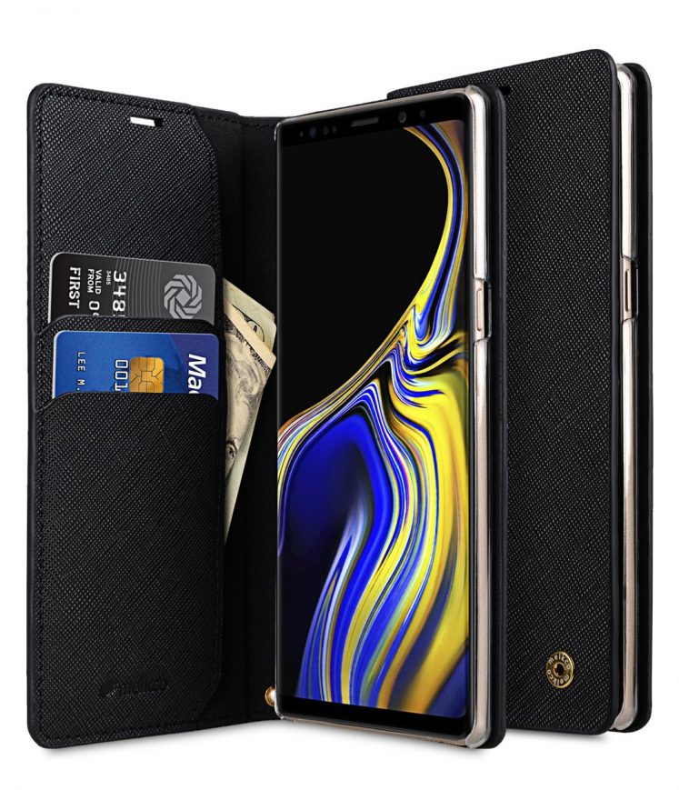 Melkco Fashion Cocktail Series Cross Pattern Premium Leather Slim Flip Type Case for Samsung Galaxy Note 9 - ( Black CP )