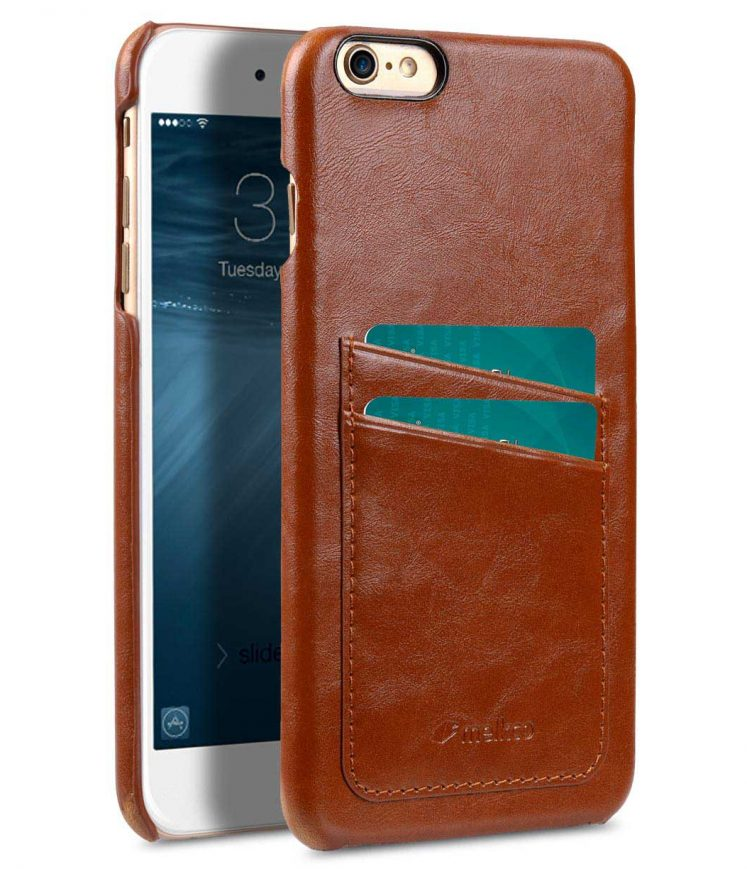 Melkco Mini PU card slot back cover for Apple iPhone 6s Plus / 6 Plus – (Dual card slots) – Brown PU